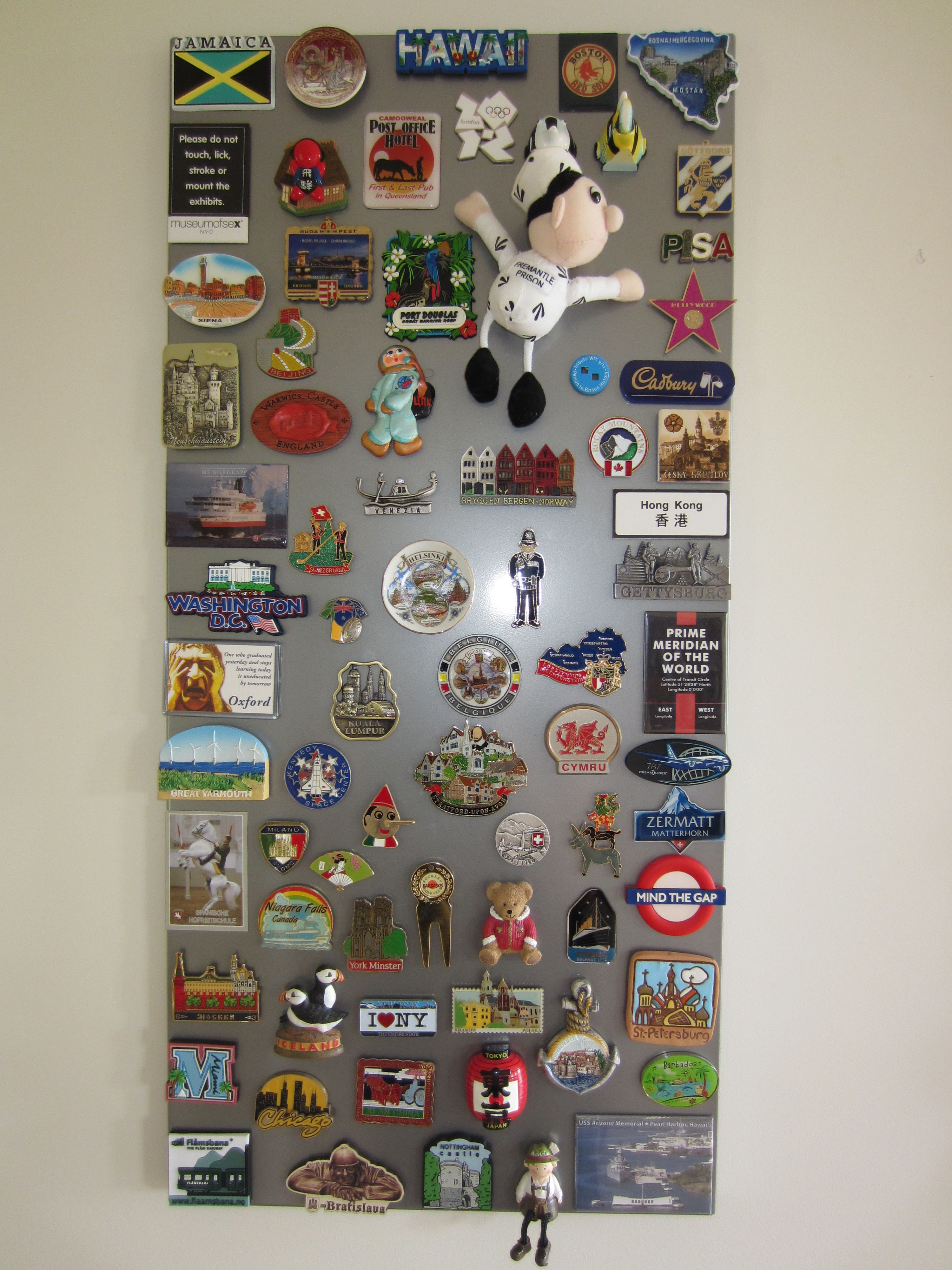 A Creative Way To Display Magnets Which We Collected From Our Travels Without Ruining The Fridge