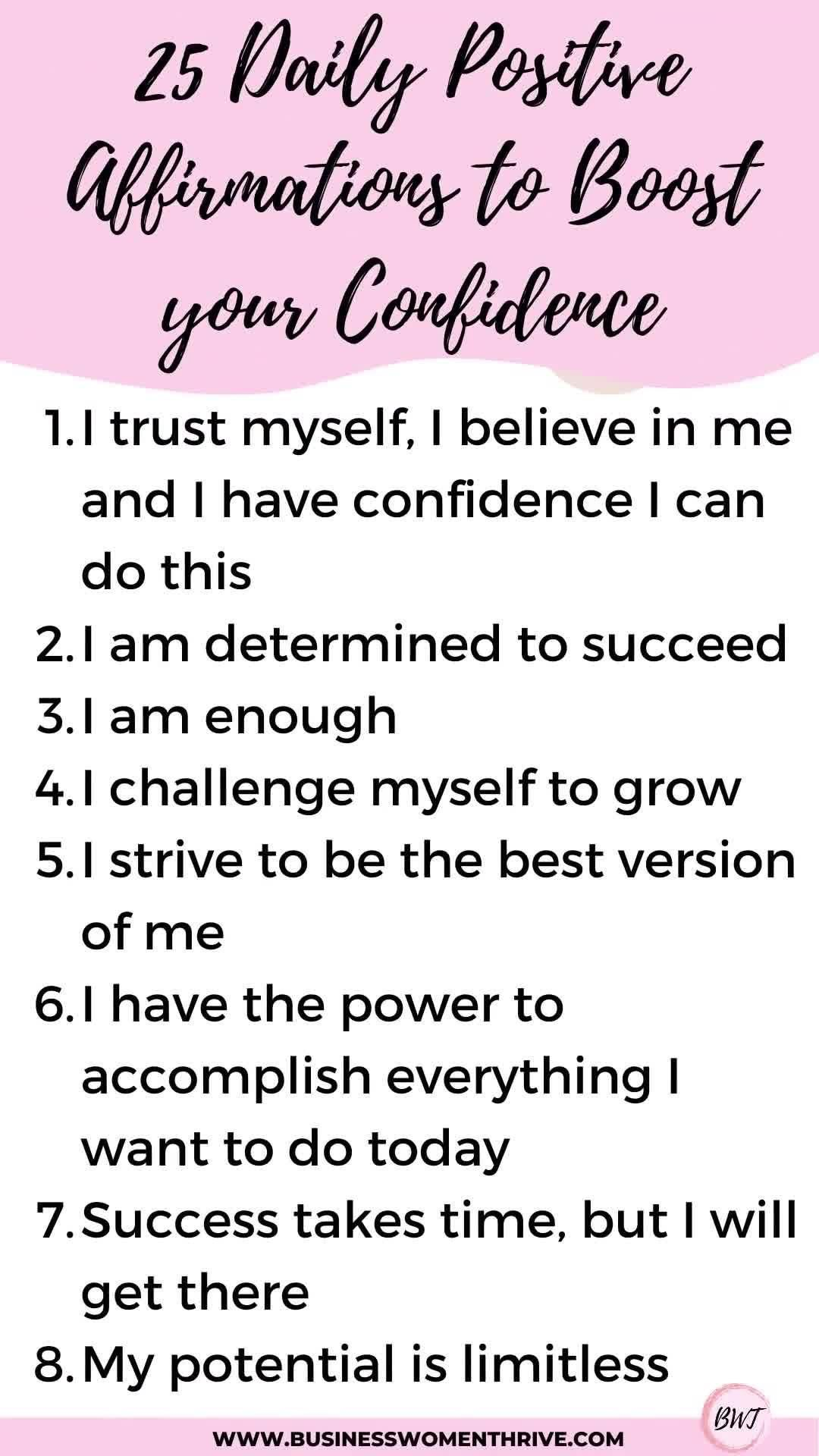 25 Daily Positive Affirmations to Boost your Confidence