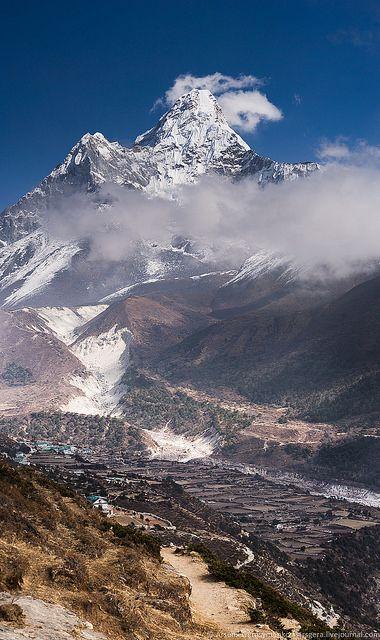 Ama Dablam Peak 6812 M In Himalaya Nepal Mountains Nepal