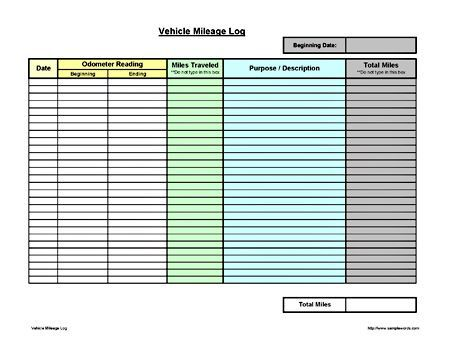 Vehicle Mileage Log Expense Form Free PDF Download