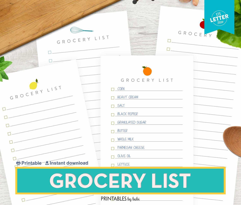 Grocery List Shopping List Printable Grocery List Printable