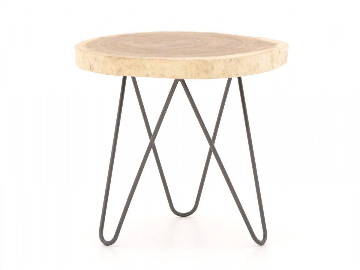 Beistelltisch Aus Stahl Mit Einer Tischplatte Aus Holz