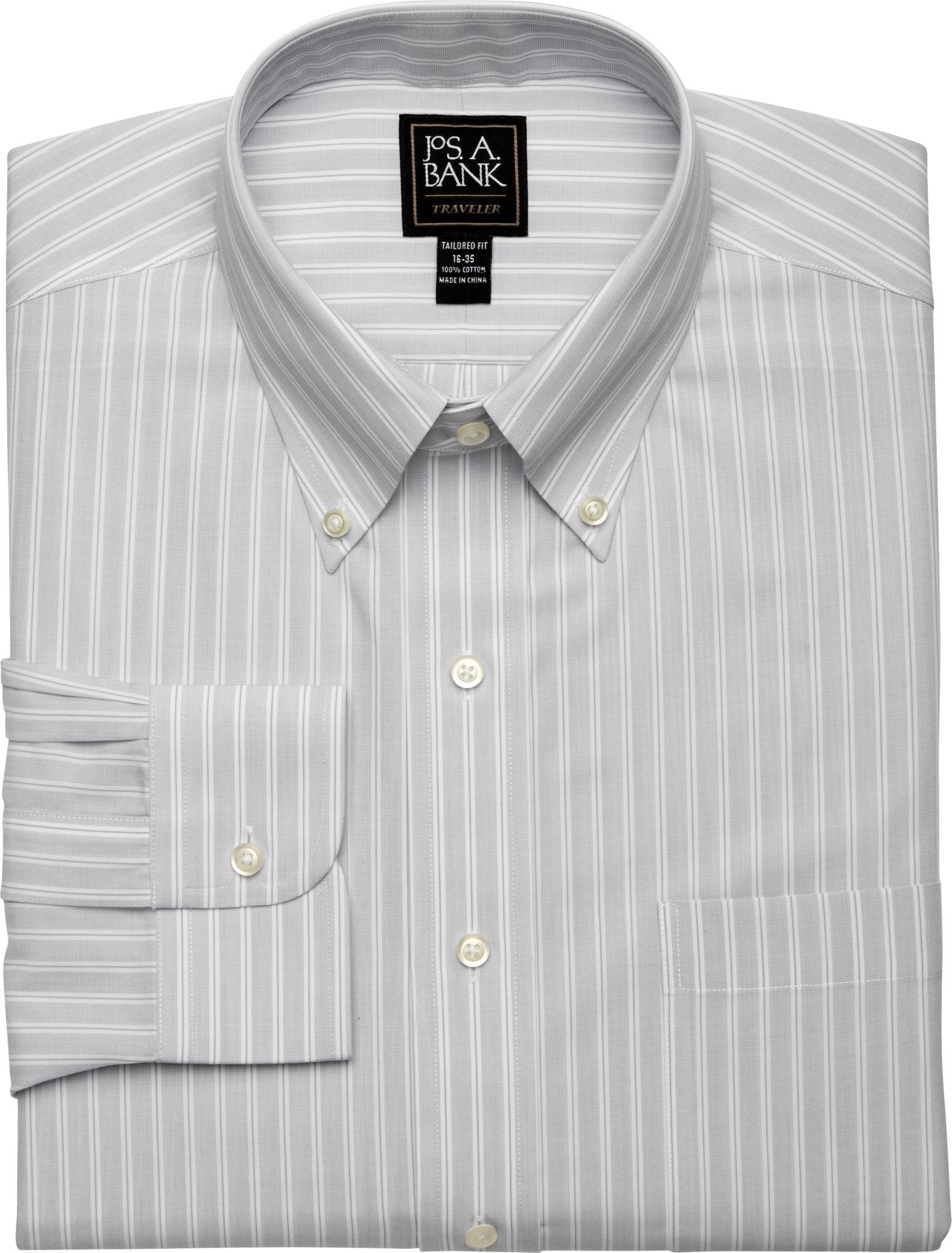 Traveler Collection Tailored Fit Button-Down Collar Stripe Dress Shirt - Big & Tall