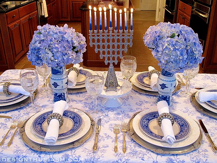 French Blue and White Holiday Table Setting with Toile   French blue ...