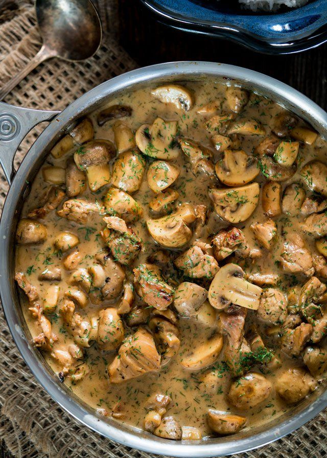 Chicken And Mushrooms In A Creamy Dill Sauce Www Jocooks Com Creamy Dill Sauce Dill Sauce Stuffed Mushrooms