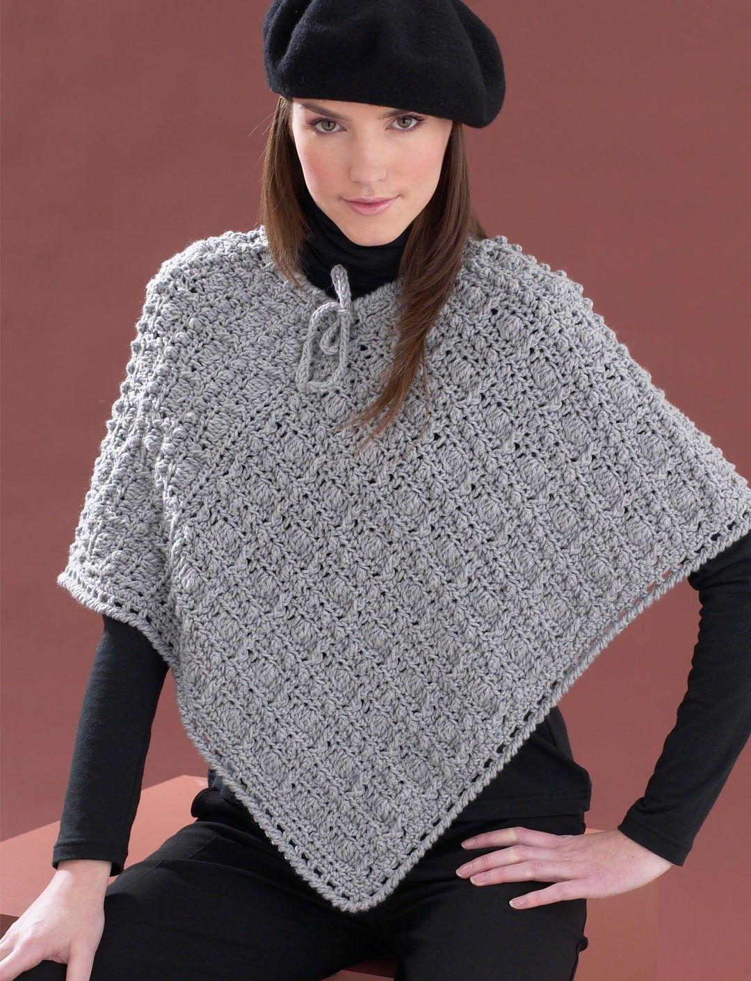 Easy Poncho Knitting Pattern Free : Yarnspirations bernat perfect patterned poncho