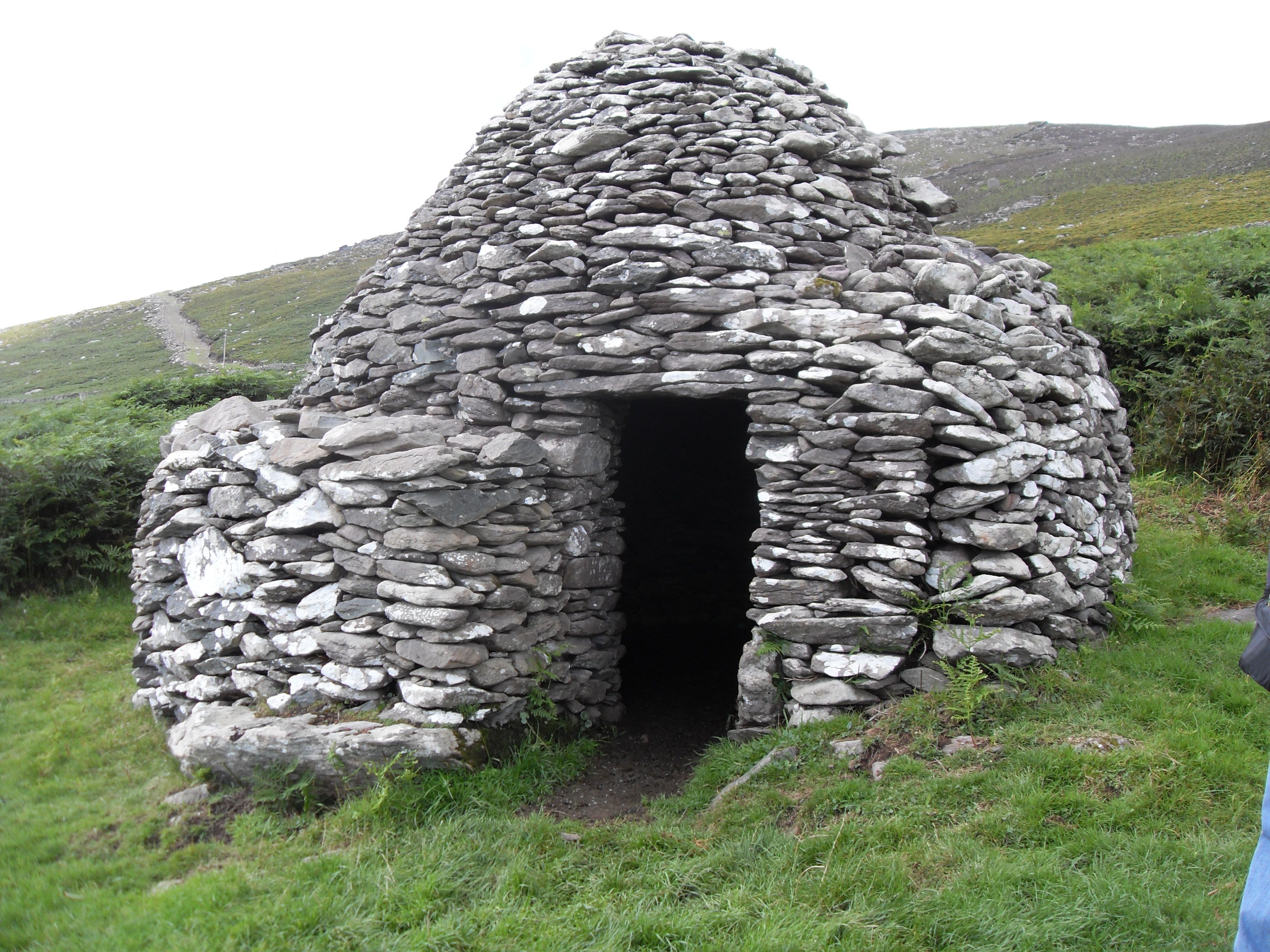 """Corbelled roof """"beehive hut"""" or clochán. Most of these"""
