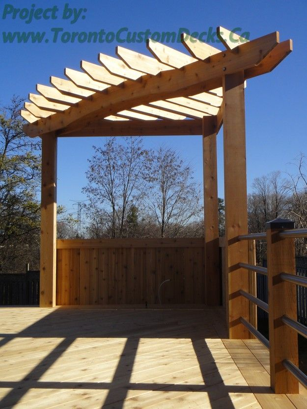 Pergola standing proudly at the corner of the deck deck for How to build a corner pergola