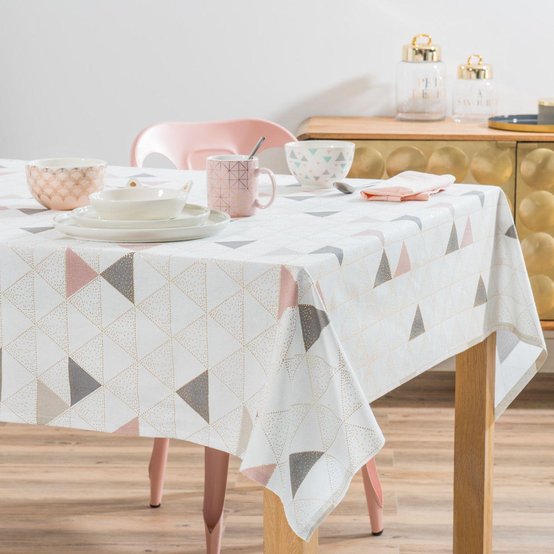 Nappe En Coton Gris Motifs Triangles 150x250 Nappe Mobilier De Salon Et Maison Du Monde