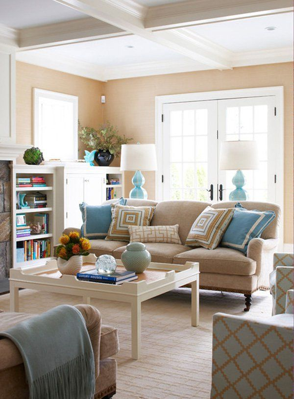 45 Coastal Style Home Designs Cuded Beige Living Rooms Tan Living Room Living Room Turquoise