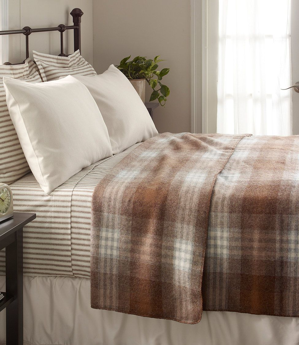 Washable Wool Plaid Blanket By L Bean