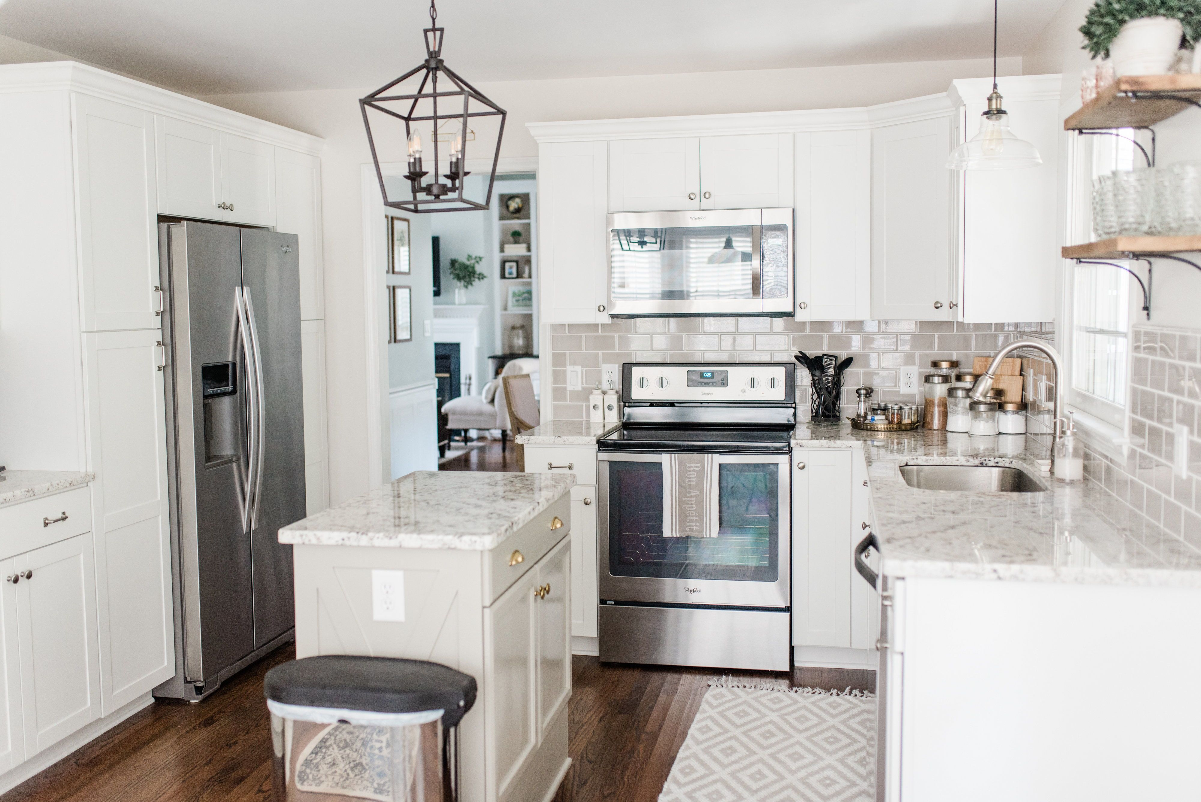 Dorian Gray Kitchen Cabinets Island And Benjamin Moore Perfect Gray Walls Elizabeth Burns Design In 2020 Diy Kitchen Island Cottage Kitchen Design Cheap Cabinets
