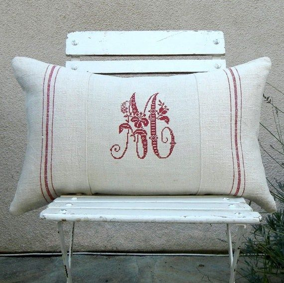 French Monogrammed Antique Grain Sack Linen by LudwigasLinen, $95.00