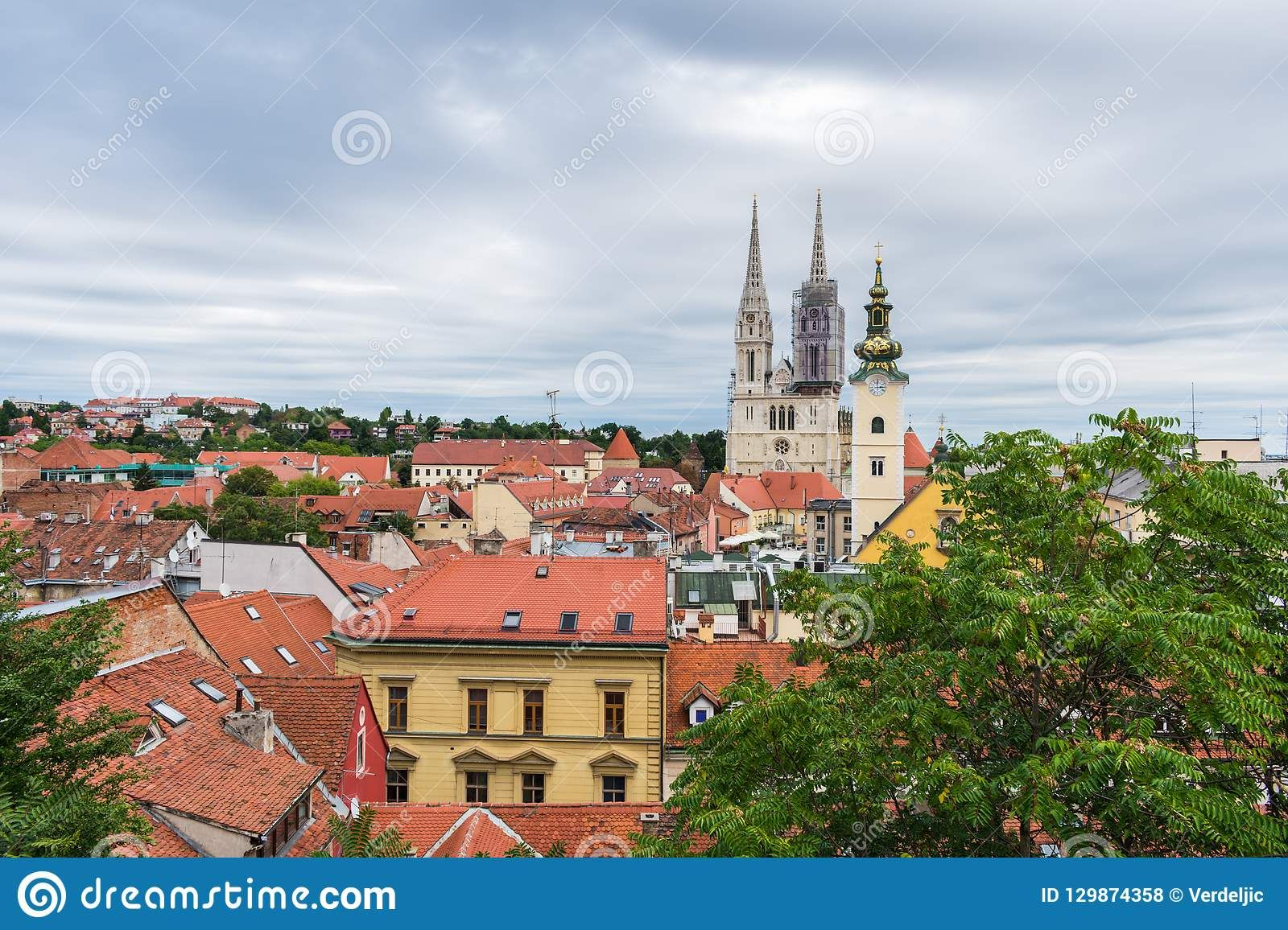 View Of Cathedral And Churches Towers Over The Rooftops In Zagreb Croatia Photo About Capital Croatia Catholic Church Destination Croatia Zagreb Rooftop