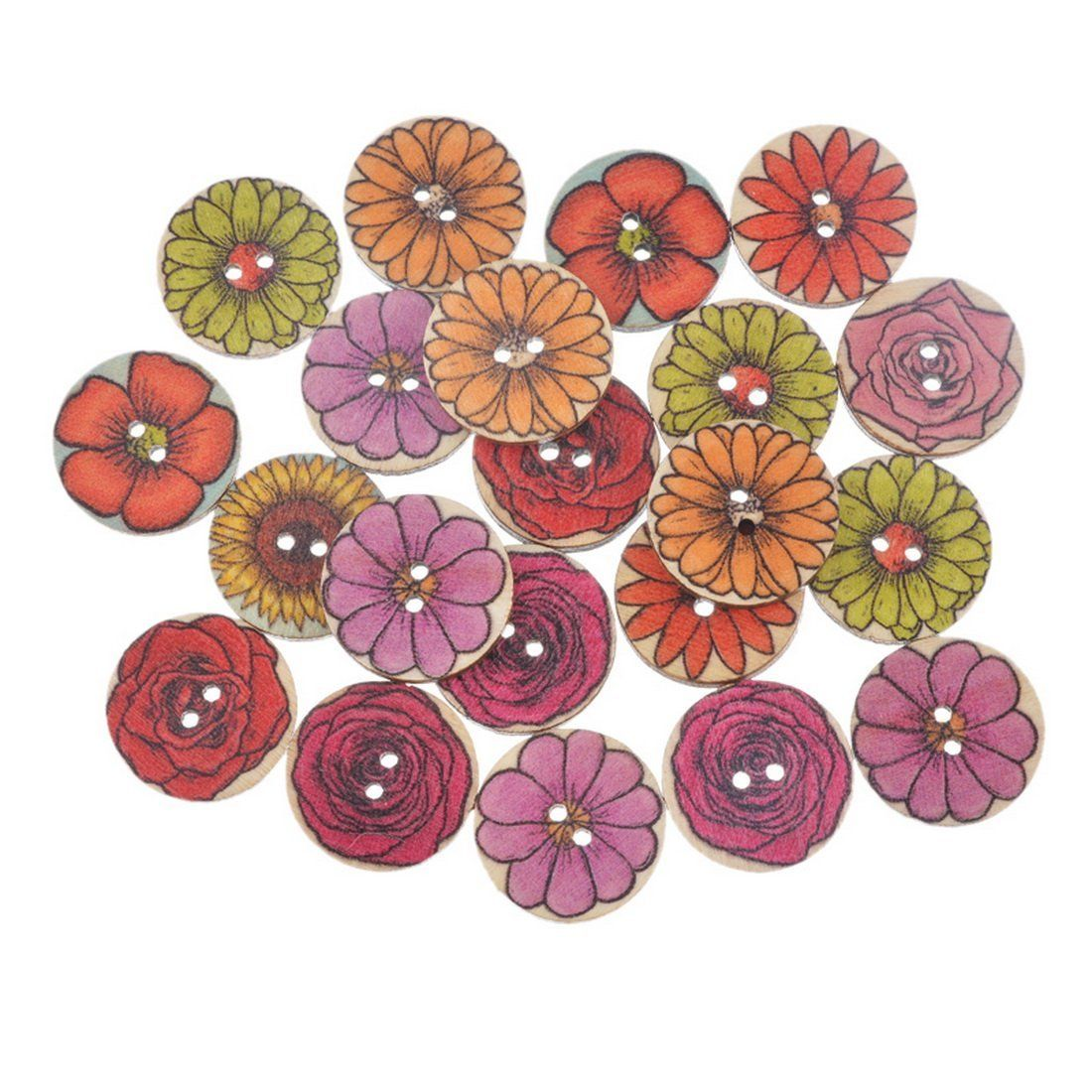 Souarts random mixed flower pattern round 2 holes wood wooden souarts random mixed flower pattern round 2 holes wood wooden buttons 20mm pack of 50pcs jeuxipadfo Choice Image