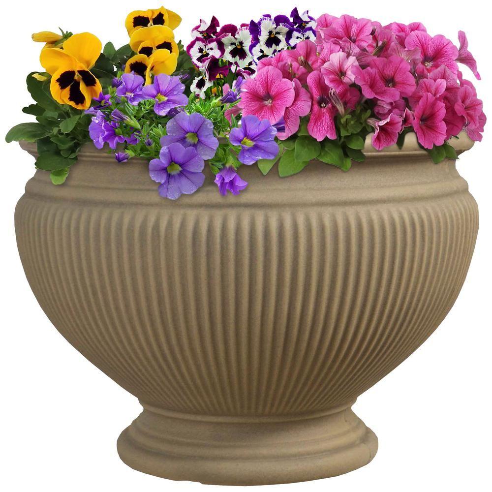 Sunnydaze Decor 16 In Pebble Elizabeth Poly Flower Pot Planter