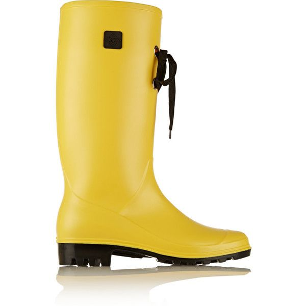 Däv Lug Lace rubber boots ($45) ❤ liked on Polyvore featuring shoes, boots, yellow, low heel boots, dav boots, rain boots, wide rain boots and yellow rubber boots