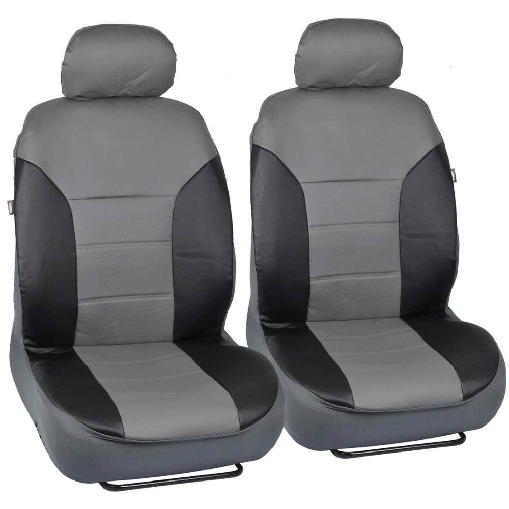 Motor trend two tone black gray pu leather car seat covers trim accent