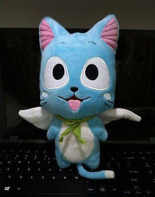 New Cute Happy Cartoon Doll Anime Fairy Tail Blue Cat Happy Plush