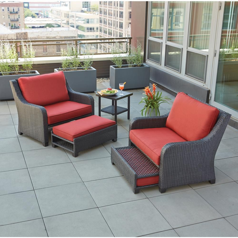 Hampton Bay Sauntera 5 Piece Wicker Patio Seating Set With Red  Cushions FRS80750 ST   The Home Depot