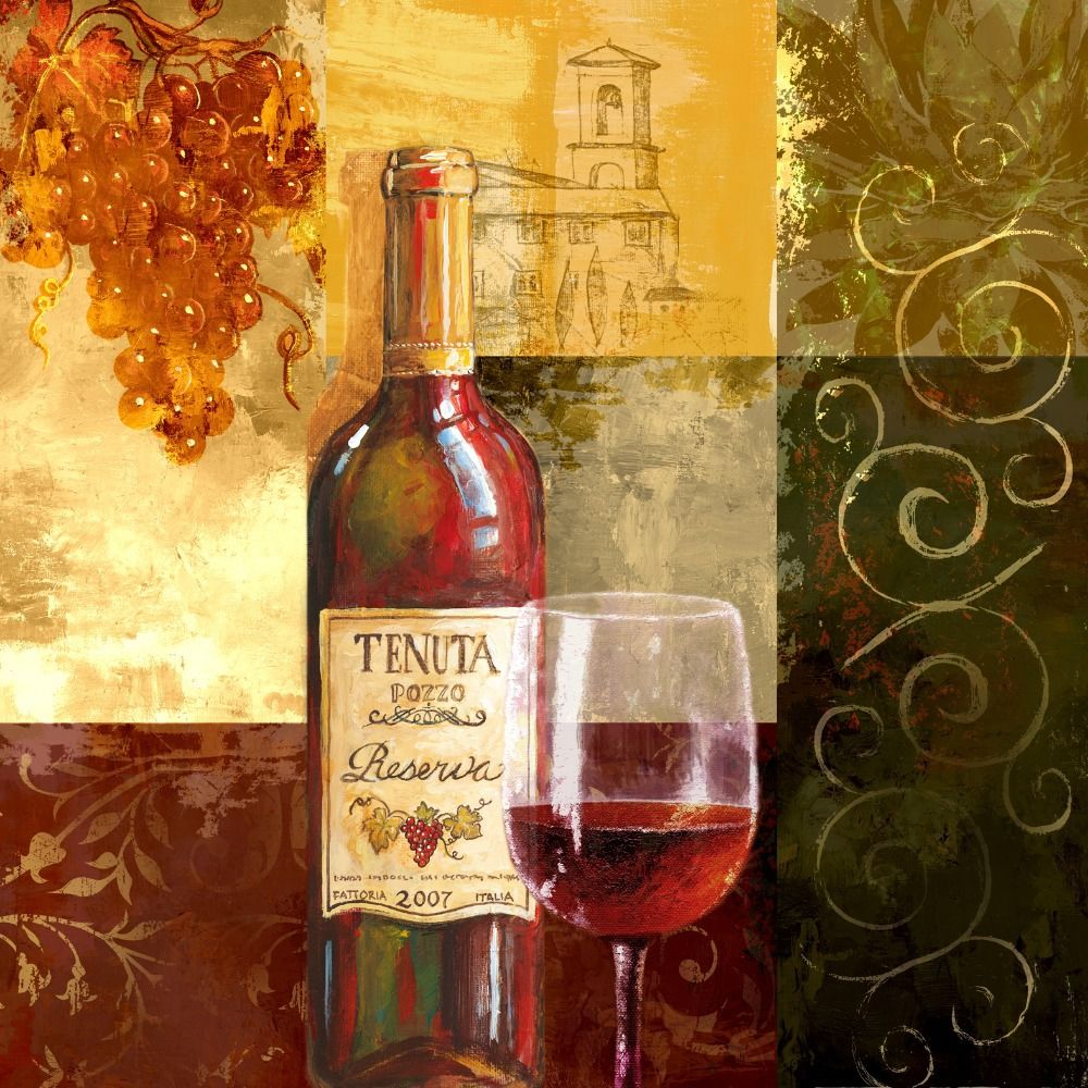 Botella de vino tinto copa copa canvas wall art home decoration ...