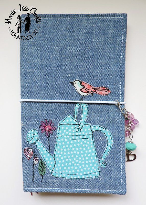 b97cf5276467e Bird and Watering Can TN Fabric Cover, Colorful Flowers Free-Hand ...