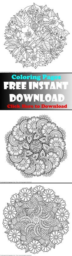 Free Instant Download Mandala Coloring Pages Advanced