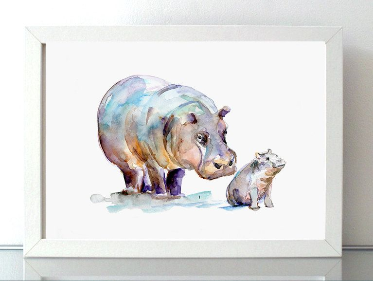 Hippo Watercolor - giclee print - Mother and baby hippopotamus - animal painting Nursery Animal art hippo Cub hippo Art by Zendrawing on Etsy https://www.etsy.com/listing/234150178/hippo-watercolor-giclee-print-mother-and