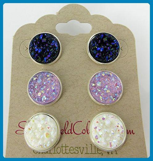 Trio Silver-tone Stud Earrings Faux Druzy Stone Midnight Blue Lavender AB White Set 12mm - Wedding earings (*Amazon Partner-Link)