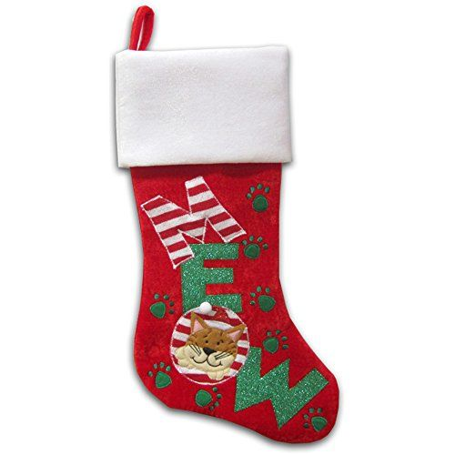 Christmas Stockings For Cats - MEOW! - http://www.christmasshack.com/christmas-stockings/christmas-stockings-for-cats-meow/