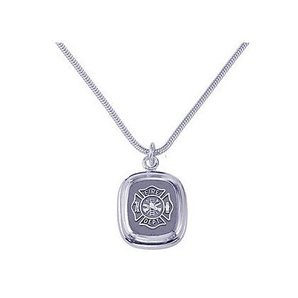Fire Department Pendant Chain Sterling Silver Silver