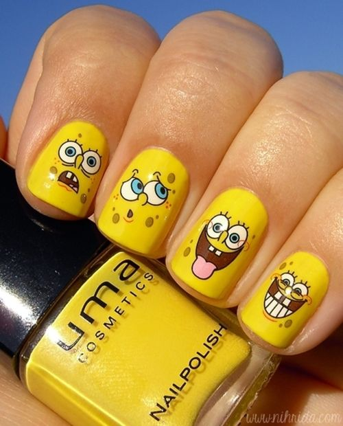 Uñas Bob Esponja Nails Pinterest Nails Nail Art Y Fun Nails
