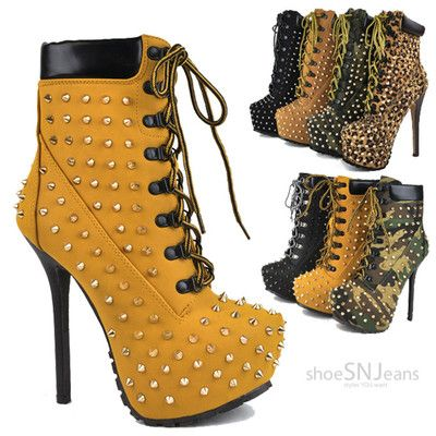 Women High Heel Spike Studs Booties Lace Up Platform Stiletto Ankle Boots Shoes
