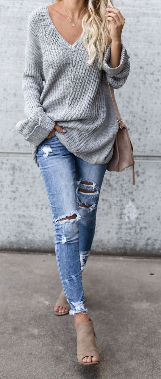 41 Cheap Big,Oversized,Chunky Sweater Outfit Ideas For Fall and Winter #oversizedknitsweaters