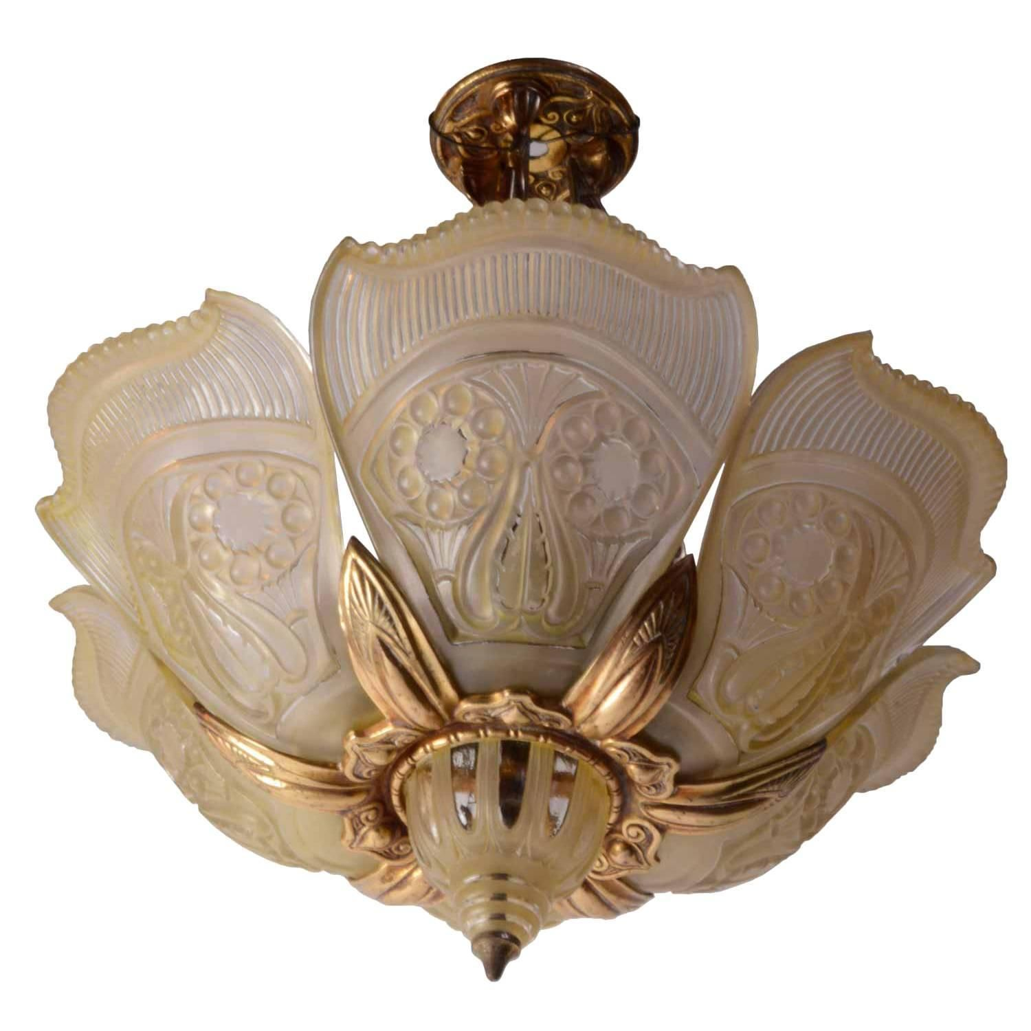 Bronze Art Deco Slipper Shade Fixture, circa 1930 | From a unique collection of antique and modern chandeliers and pendants at https://www.1stdibs.com/furniture/lighting/chandeliers-pendant-lights/