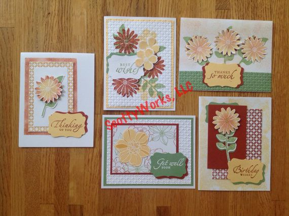 Handcrafted Assortment Of Five Notecards Birthday Get Well