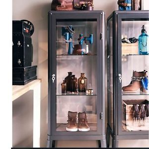 Ikea Fabrikor Glass Curio Display Cabinet Gray Industrial Showcase Lock  Lockable