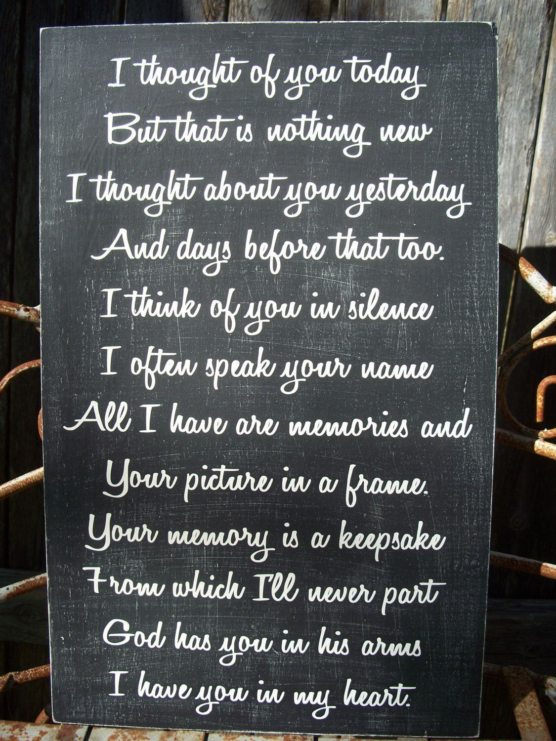 Memory sign wedding memory sign i thought of you today in