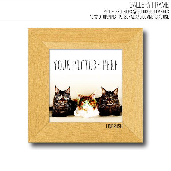 Teak wood frame. Rustic modern minimalist Square gallery frame ...