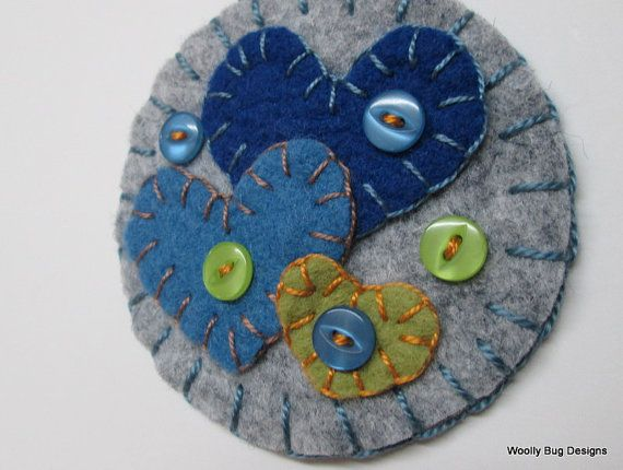 Wool Felt Ornament, Hearts, Blue, Gray, Soft Green, with Buttons
