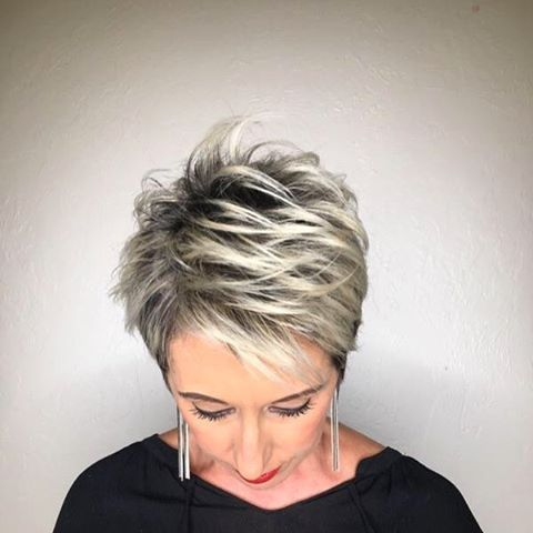 White Blonde Highlights On This Pixie Haircut White Blonde Highlights Blonde Highlights Short Hair Blonde Highlights