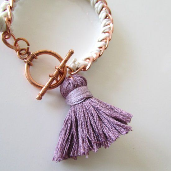 Finish off your favorite ensemble with this Anthro-inspired DIY tassel bracelet.