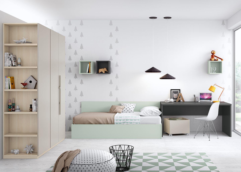 Cama elevable juvenil armario tirador branca antaix origami en 2019 dormitorios juveniles - Tiempos modernos muebles ...