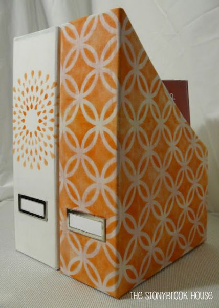 Stenciled Fabric-Covered Magazine Holders