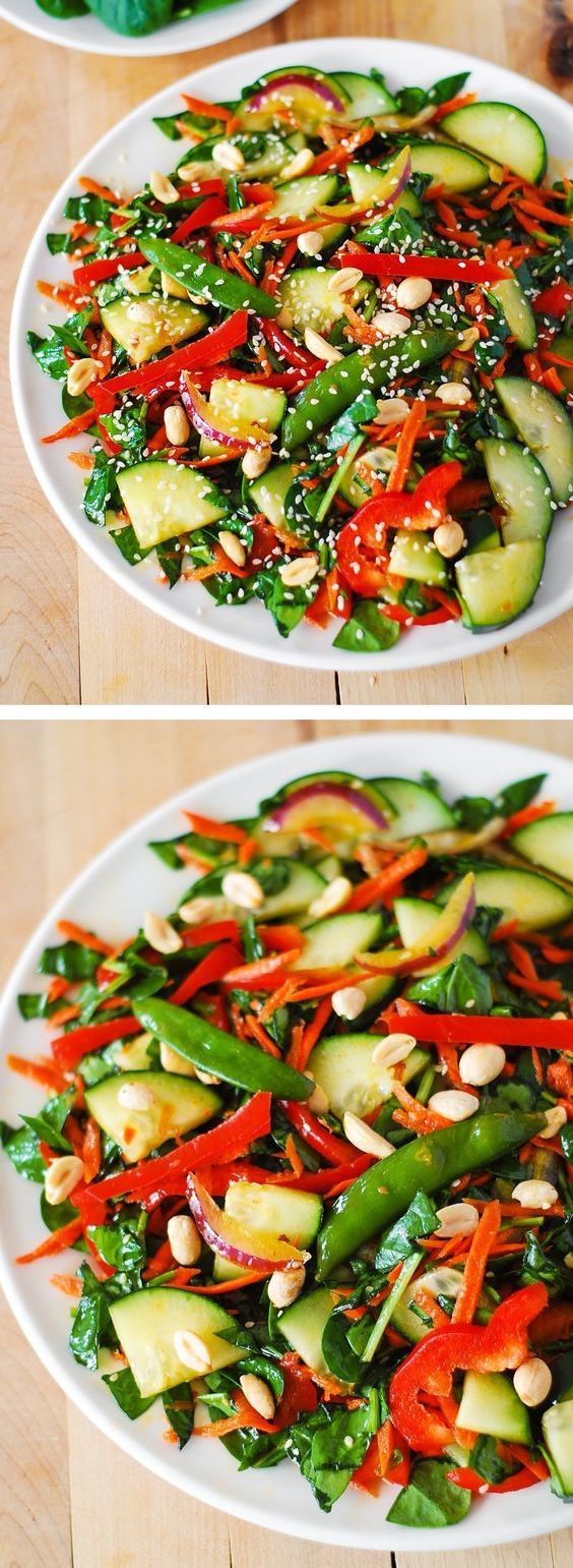 Crunchy Asian Salad with Veggies and Peanut dressing