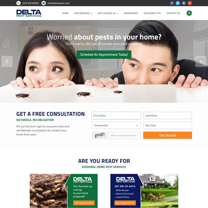 Professional Wordpress Design For Professional Pest Control Company By Gendesign Wordpress Design Contest Design Pest Control