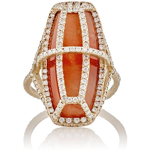 Monique Péan Women's Arch Cage Ring ($12,040) ❤ liked on Polyvore featuring jewelry, rings, colorless, 18 karat gold jewelry, cage ring, pave jewelry, pave ring and white gold jewelry