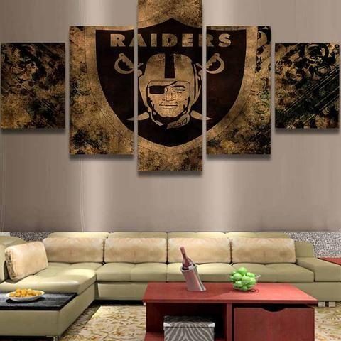 Oakland Raiders Nfl Football 5 Panel Canvas Wall Art Home Decor Kids Room Wall Art Led Wall Art Home Wall Art