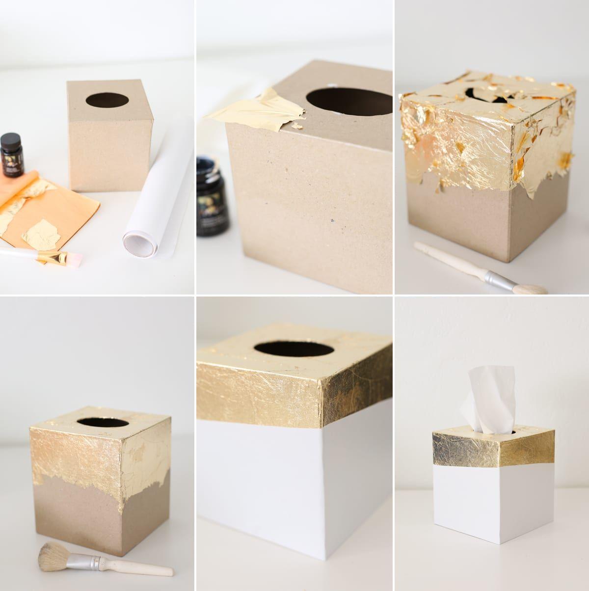 Diy Gold Leaf Tissue Box Holder Lovely Indeed Gold Leaf Diy Tissue Box Crafts Gold Diy