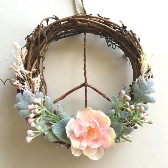 Photo of Peace Sign Wreath / Modern Wreath / Boho Wreath / Peasant Wreath / Farmhouse of …